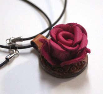 Leather rose pendant